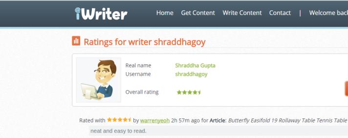 Iwriter ratings window